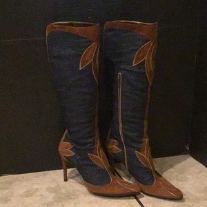Dolce and Gabbana  Swede and denim knee boots.
